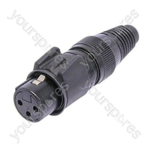 Neutrik NC3FX-HD-B Female 3 Pin XLR Female Heavy Duty IP68 Waterproof Cable Connector With Gold Plated Contacts
