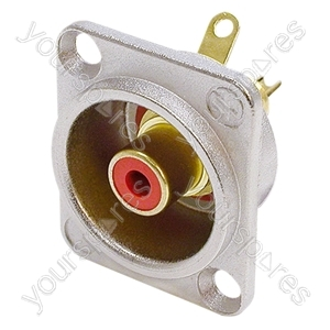 Neutrik NF2D Professional D Plate Mounted Phono Chassis Socket With Gold Terminals and Colour Coding - Colour Nickel/Red