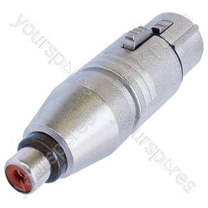 Neutrik NA2FPMF 3 Pin XLR Female to Phono Socket Adaptor