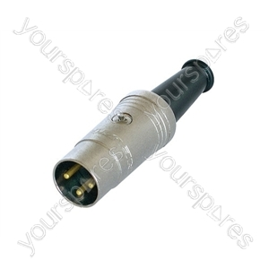 REAN NYS321G 3 Pin DIN Plug with Rubber Boot and Gold Plated Contacts - Number of Pins 3