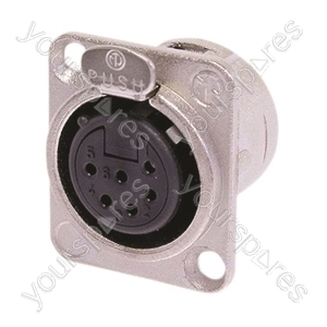 Neutrik NC6FD-L-1 Female 6 Pin Chassis Socket With Silver Contacts
