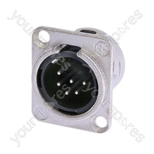 Neutrik NC6MD-L-1 Male 6 Pin Chassis Connector With Silver Contacts