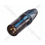 Neutrik NC3MXX-B Male 3 Pin XLR Line Plug With Gold Plated Contacts