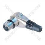 Neutrik NC5FRC Female 5 Pin XLR Right Angled Line Connector With Silver Plated Contacts