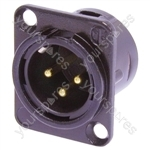 Neutrik NC3MD-L-B-1  Male 3 Pin XLR Chassis Socket With Gold Plated Contacts