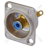 Neutrik NF2D Professional D Plate Mounted Phono Chassis Socket With Gold Terminals and Colour Coding - Colour Nickel/Blue