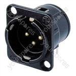 Neutrik NC3MD-H-B Male 3 Pin XLR Chassis Socket