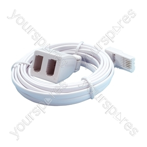 Commtel White 3m UK Telephone Extension Lead To Double Adaptor.  Blister