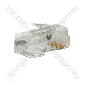 Clear 8 Pin RJ45 Modular Plug. Bulk