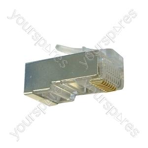 Silver Grey 8 Pin RJ45 Shielded Modular Plug. Bulk