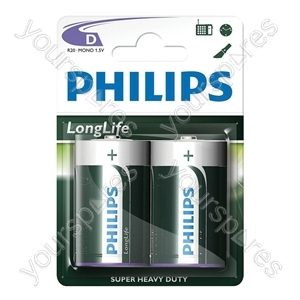 Philips LongLife Zinc Batteries - Type D