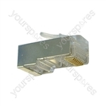 Silver Grey 8 Pin RJ45 Shielded Modular Plug. Bulk