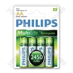 Philips Rechargeable Batteries (4 Pk) - Type AA