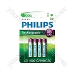 Philips Rechargeable Batteries (4 Pk) - Type AAA
