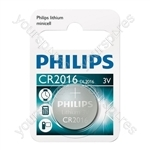 Philips Lithium Button Cell Blister of 1 - Type CR2016