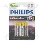 Philips Lithium Ultra Batteries BLISTER - Size AAA