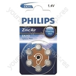 Philips Hearing Aid Battery 6 Pack - Type ZA312