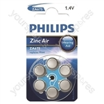 Philips Hearing Aid Battery 6 Pack - Type ZA675