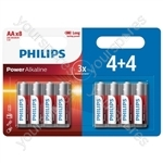 Philips Power Alkaline Batteries - 4+4 Promotional Pack - Size AA