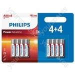 Philips Power Alkaline Batteries - 4+4 Promotional Pack - Size AAA