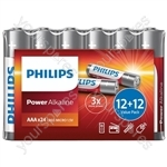 Philips Power Alkaline Batteries - Shrink Wrap Value Pack - Size AAA