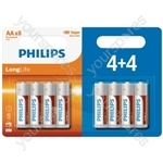 Philips LongLife Zinc Chloride Batteries - 4+4 Value Pack - Size AA