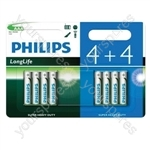 Philips LongLife Zinc Chloride Batteries - 4+4 Value Pack - Size AAA