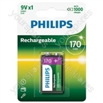 Philips Rechargeable Batteries (4 Pk) - Type 9V