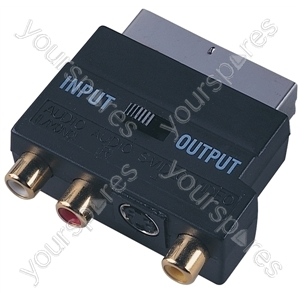 Switched Scart Plug to 3 Gold Plated Phono and SVHS Sockets Adaptor