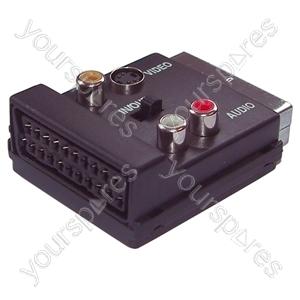 Switched Scart Plug/Socket to 3 Phono and SHVS Sockets Adaptor