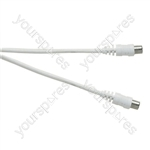 Standard Coaxial Plug to Coaxial Socket TV and Video Lead White - Lead Length (m) 3
