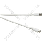 Standard Coaxial Plug to Coaxial Plug TV and Video Lead White - Lead Length (m) 1