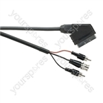 Standard Scart Plug to BNC and 2 x Phono Plugs TV and Video Lead