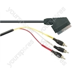 Standard Scart Plug to 3 Phono Plugs TV and Video Lead