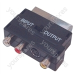 Scart Adaptor with 3 Phono Sockets and SVHS Socket
