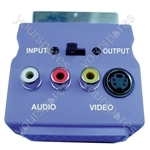Blue Scart Adaptor with Scart Plug/Socket, 3 Phono Sockets and SVHS Socket
