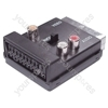Scart Adaptor with Scart Plug/Socket and 3 Phono Sockets
