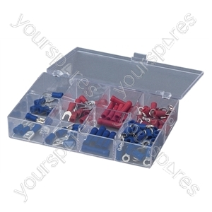 Crimp Terminal and Connector Kit with 100 Assorted Terminals - Number of Crimps 100