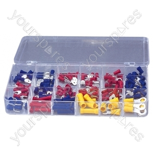 Crimp Terminal and Connector Kit with 100 Assorted Terminals - Number of Crimps 150
