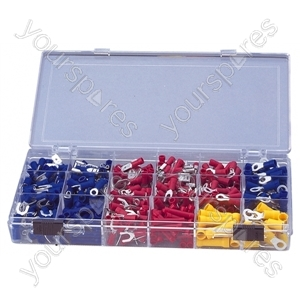 Crimp Terminal and Connector Kit with 100 Assorted Terminals - Number of Crimps 500
