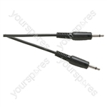 Standard 3.5 mm Mono Jack Plug to 3.5 mm Mono Jack Plug Lead - Length 1.2m - Packing Bulk of 50