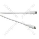 Standard Coaxial Plug to Coaxial Plug TV and Video Lead White - Lead Length (m) 4