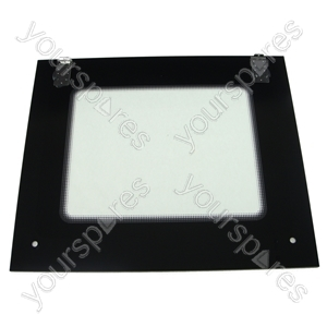 Oven Door Main Glass Bk + Brackets