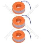 3 x Bosch Strimmer Trimmer Spool And Line ART23, ART26, ART30, ART2300, ART300, ART2600
